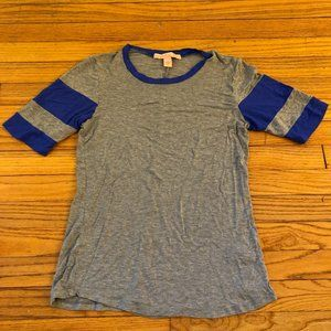 Rebellious One Gray T-Shirt Blue Striped Sleeve